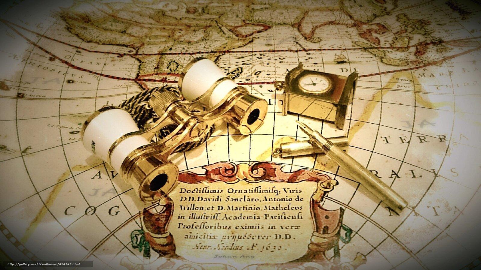 карта, часы, бинокль, ручка