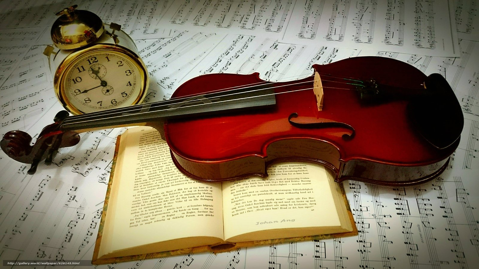 скрипка, книга, будильник