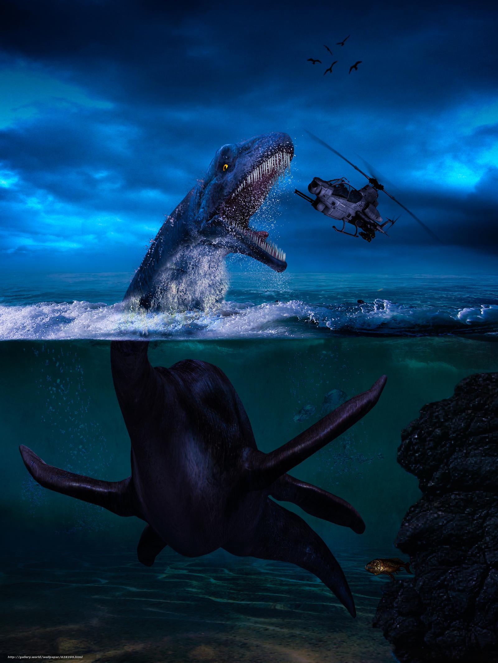 морской динозавр, вертолёт, фантастика