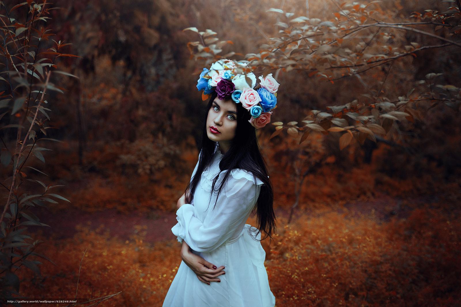 девушка, настроение, взгляд, венок, цветы, лес
