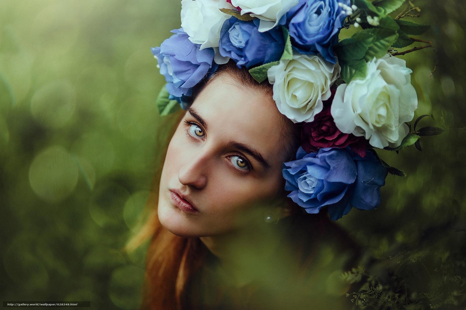 девушка, лицо, взгляд, портрет, венок, цветы, настроение