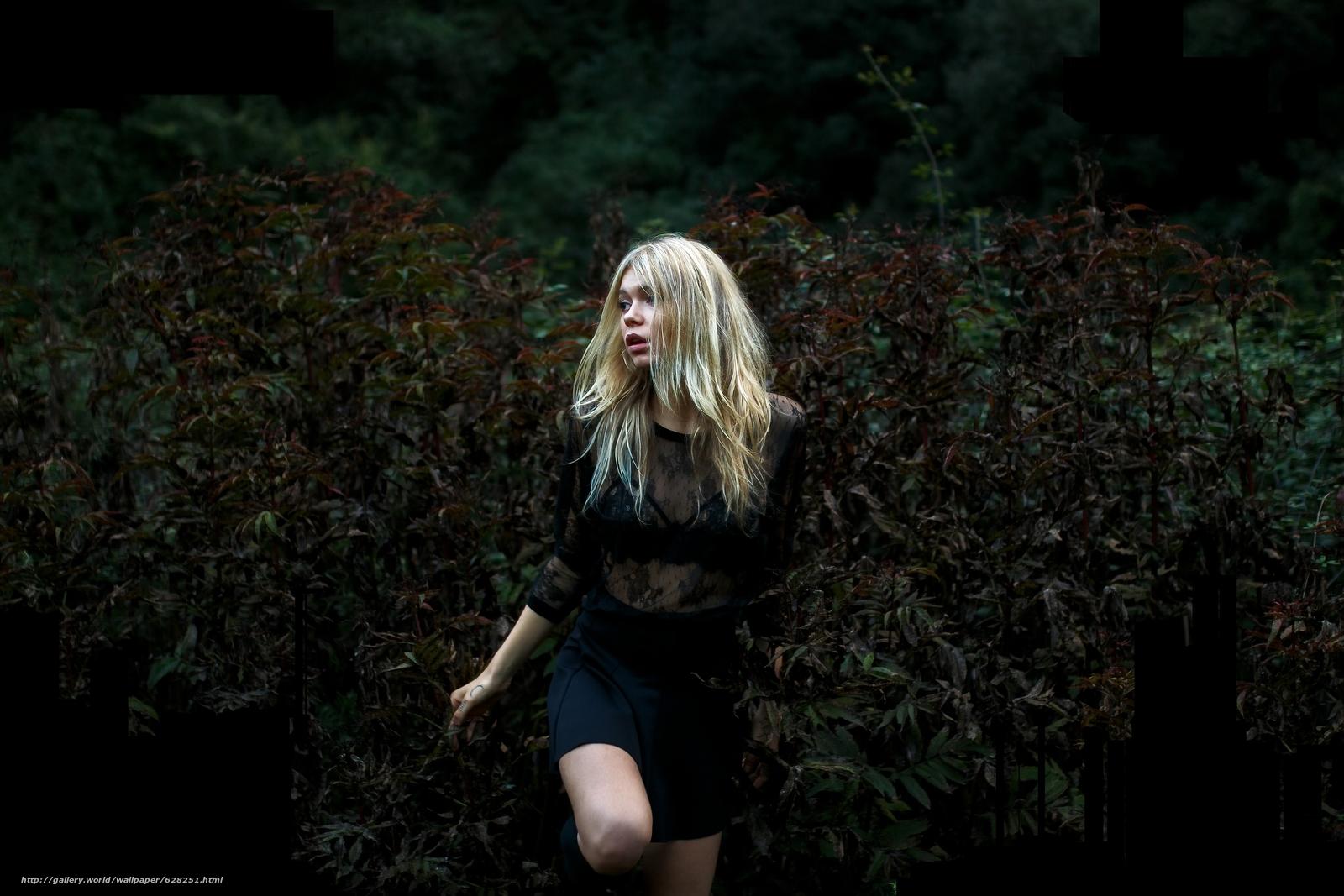 девушка, блондинка, настроение, кусты
