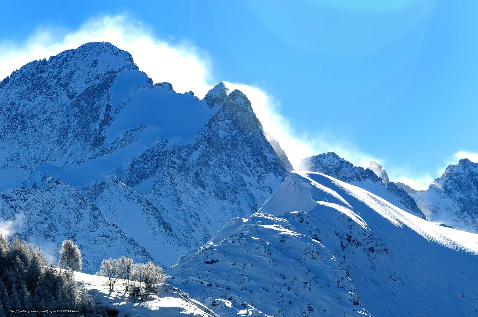 горы, снег, зима, деревья, пейзаж
