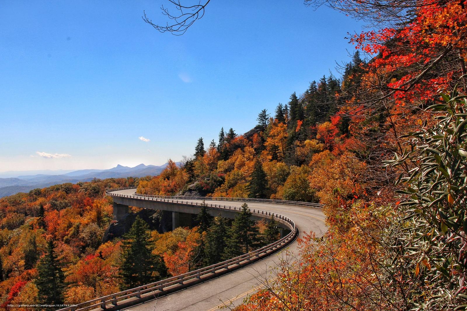 Blue Ridge Parkway Linn Cove Viaduct, Северная Каролина, осень, мост, деревья.пейзаж
