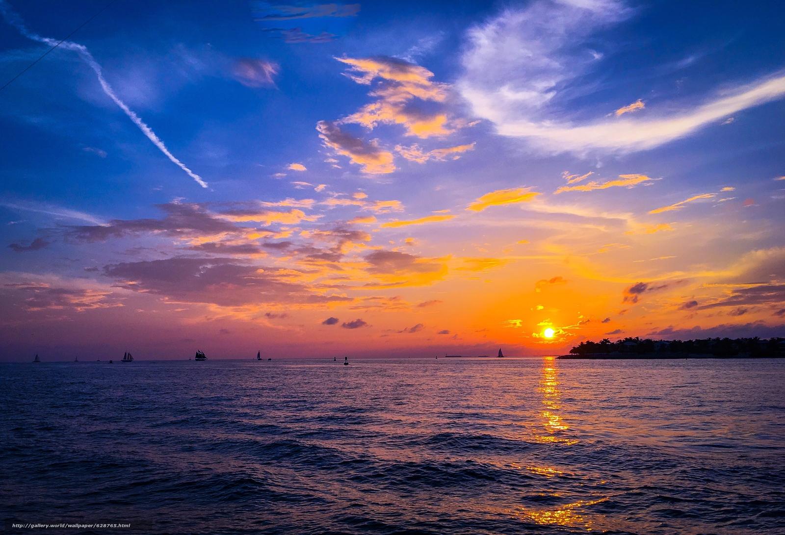 закат, море, парусники, пейзаж