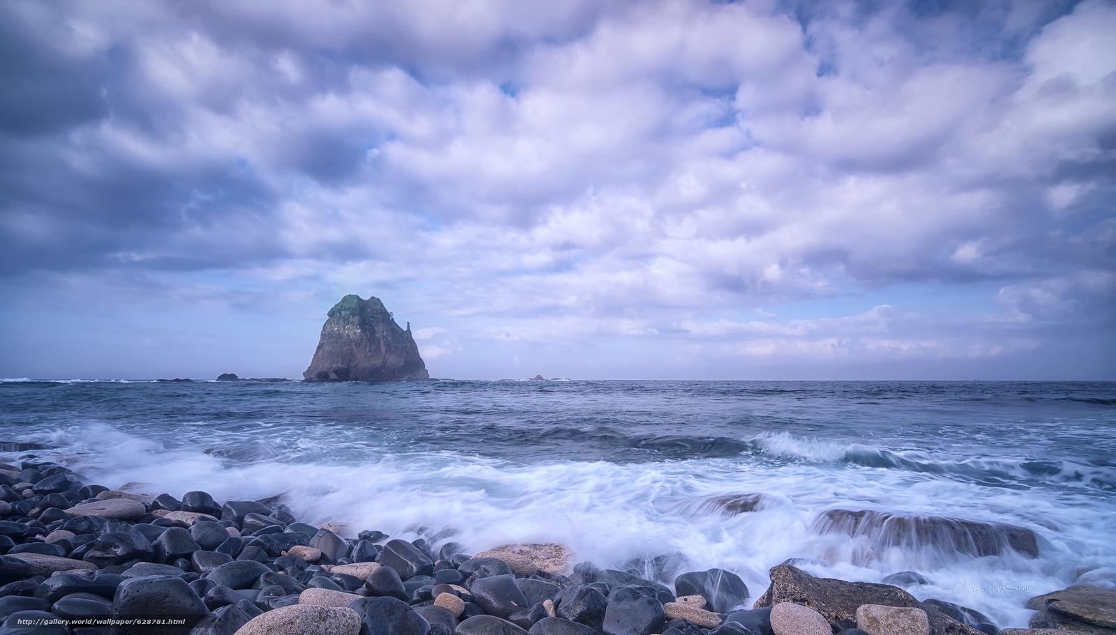 закат, море, берег, камни, скала, пейзаж