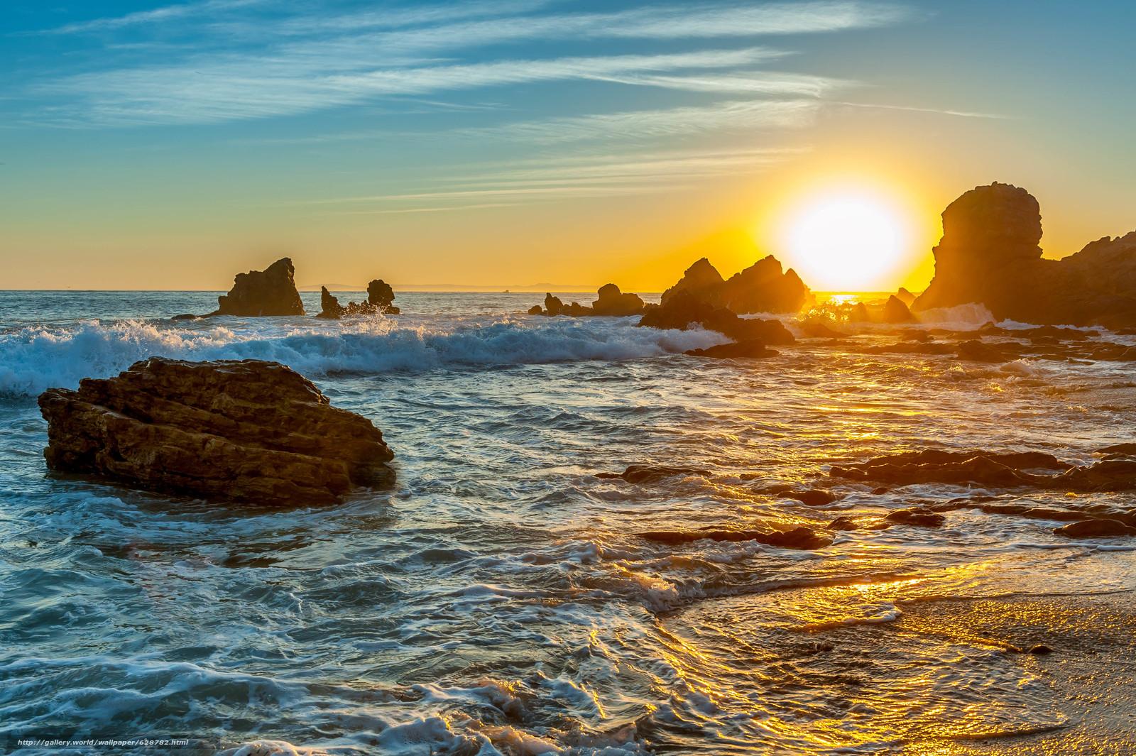 море, закат, волны, скалы, пейзаж