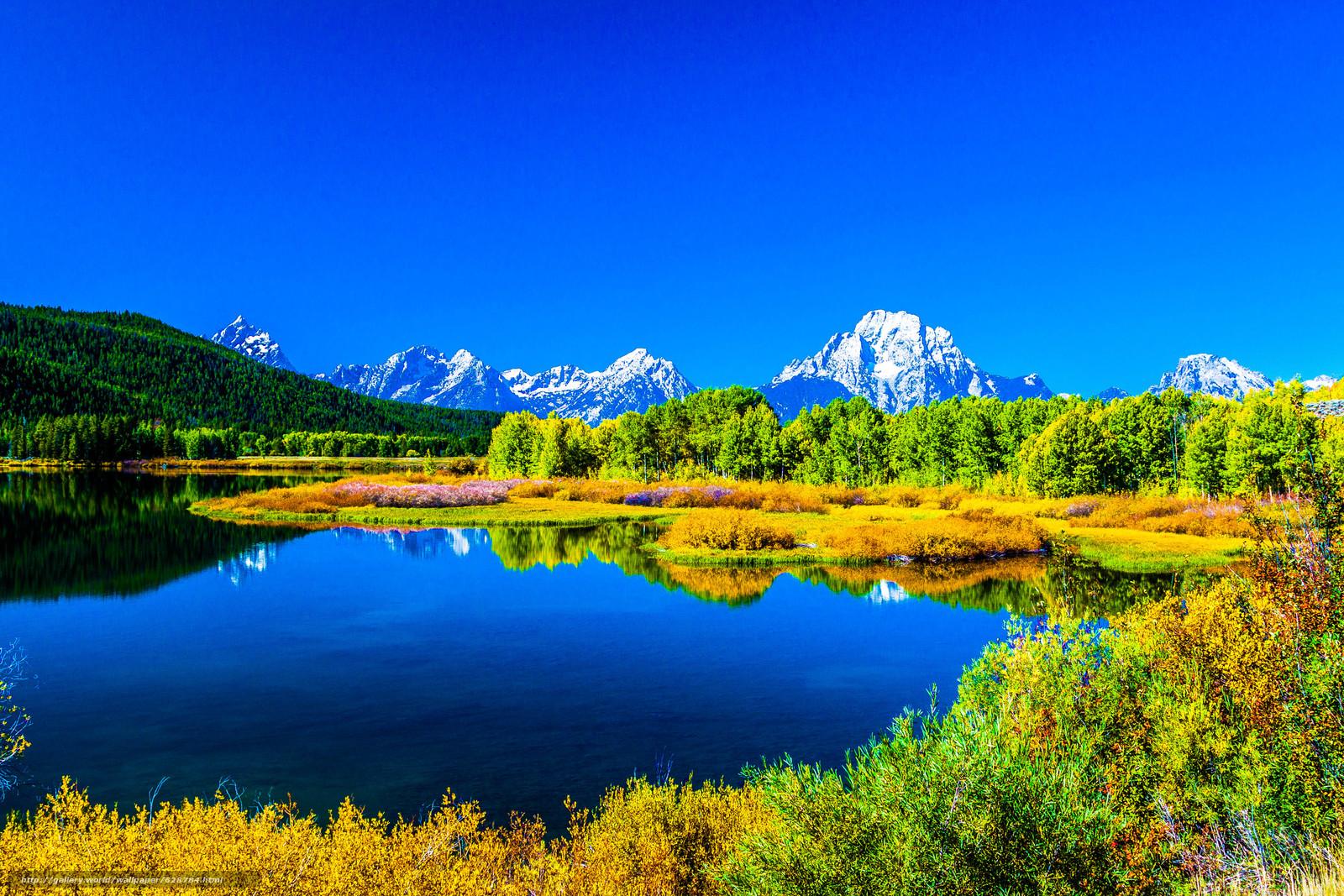 озеро, горы, деревья, осень, пейзаж