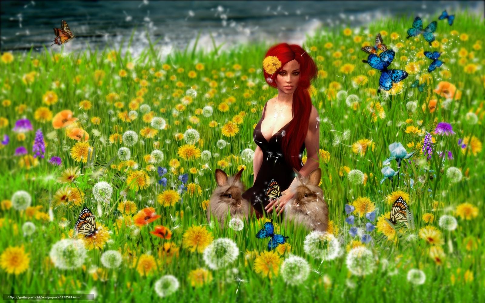поле, девушка, кролики, art