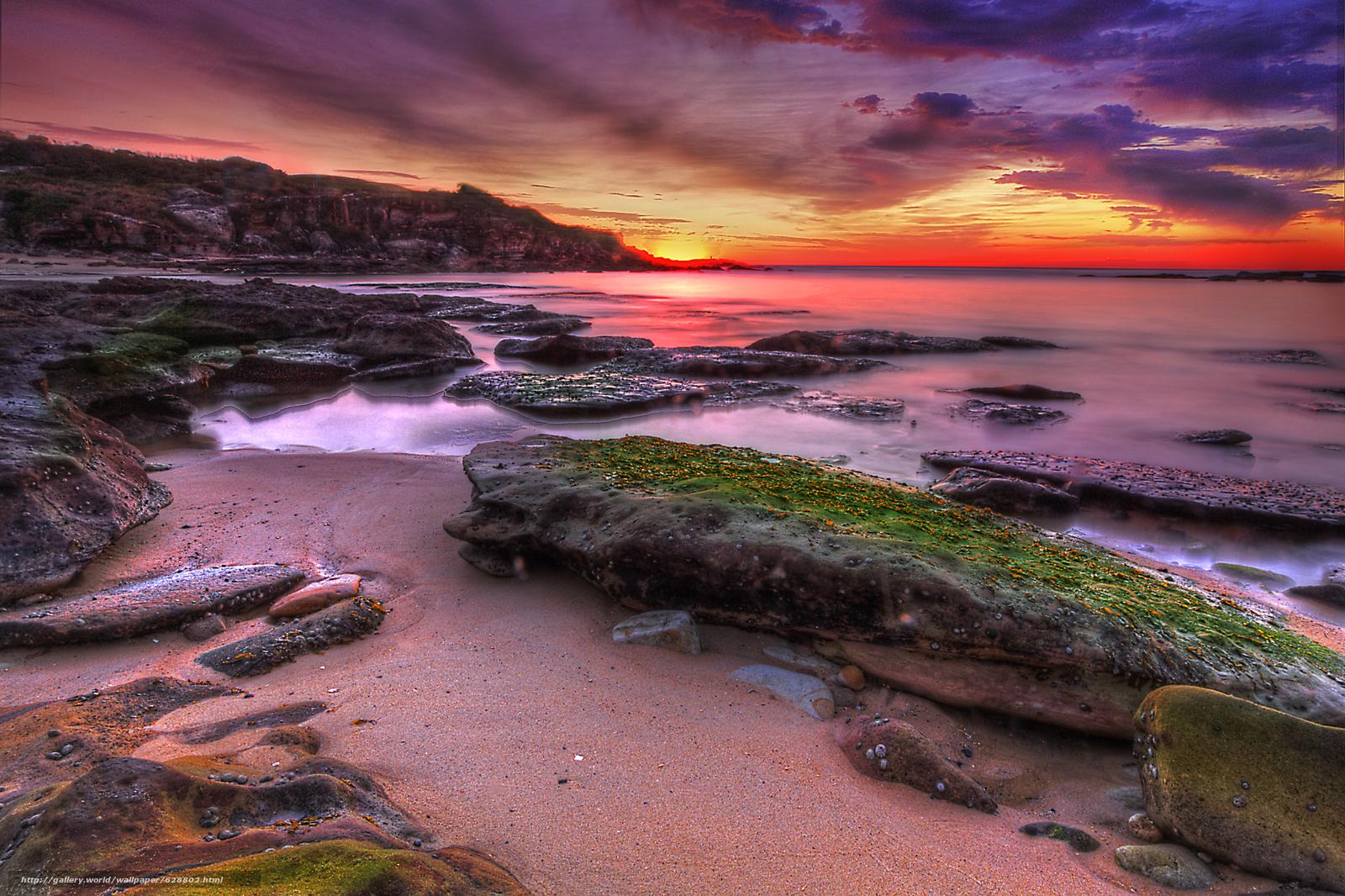 закат, море, скалы, берег, пейзаж