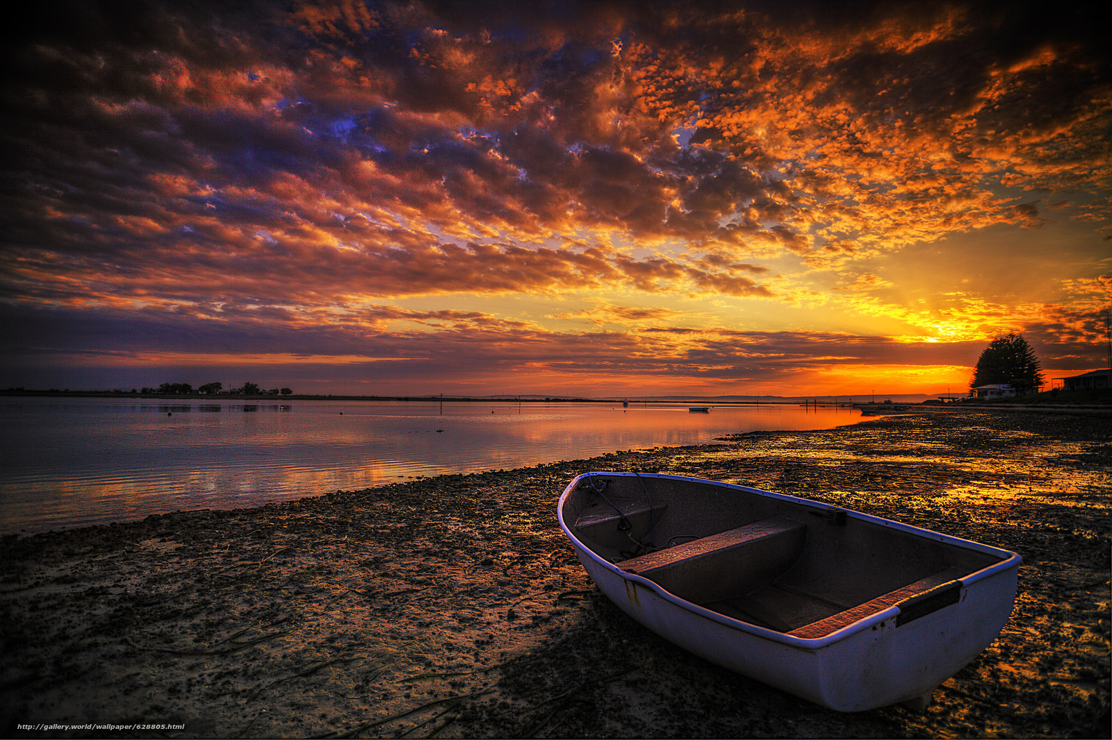 закат, берег, лодка, пейзаж