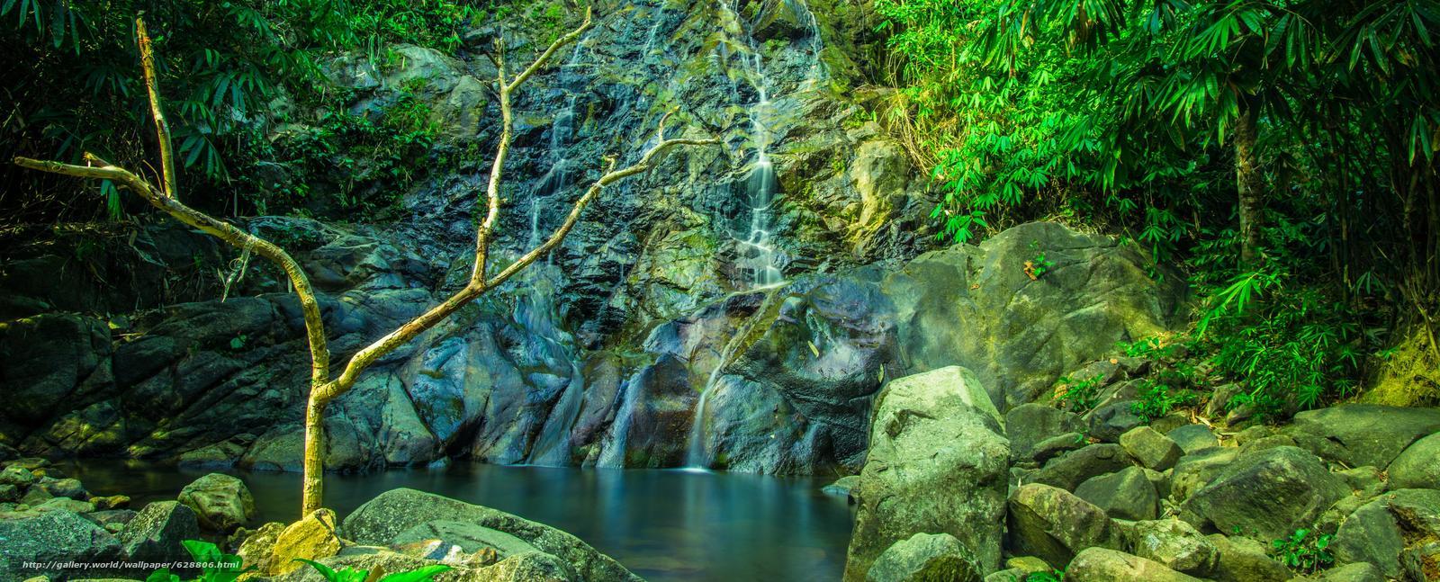 скалы, камни, водопад, водоём, деревья, природа