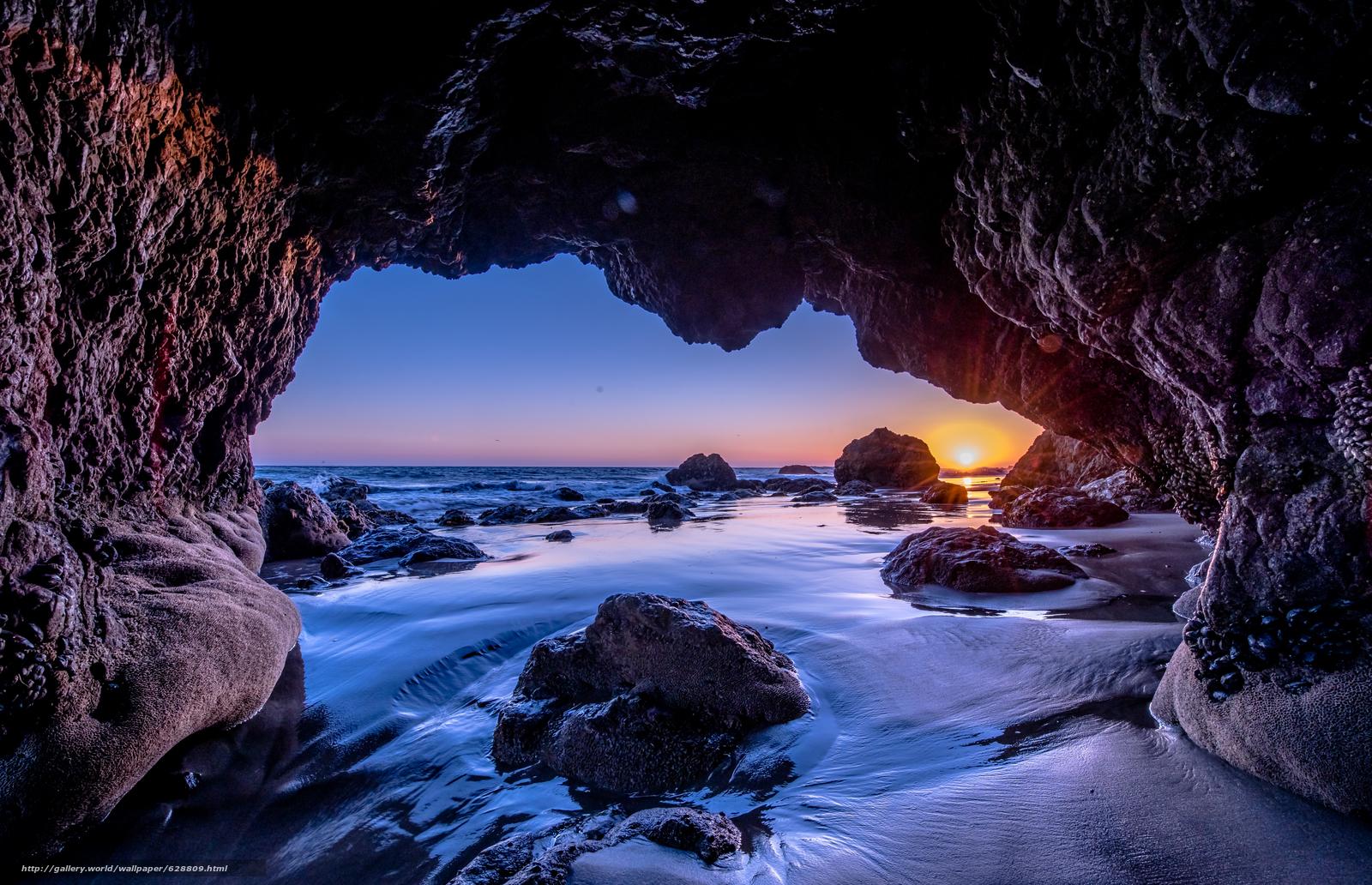 Malibu, Sunset, закат, море, скалы, арка, пейзаж