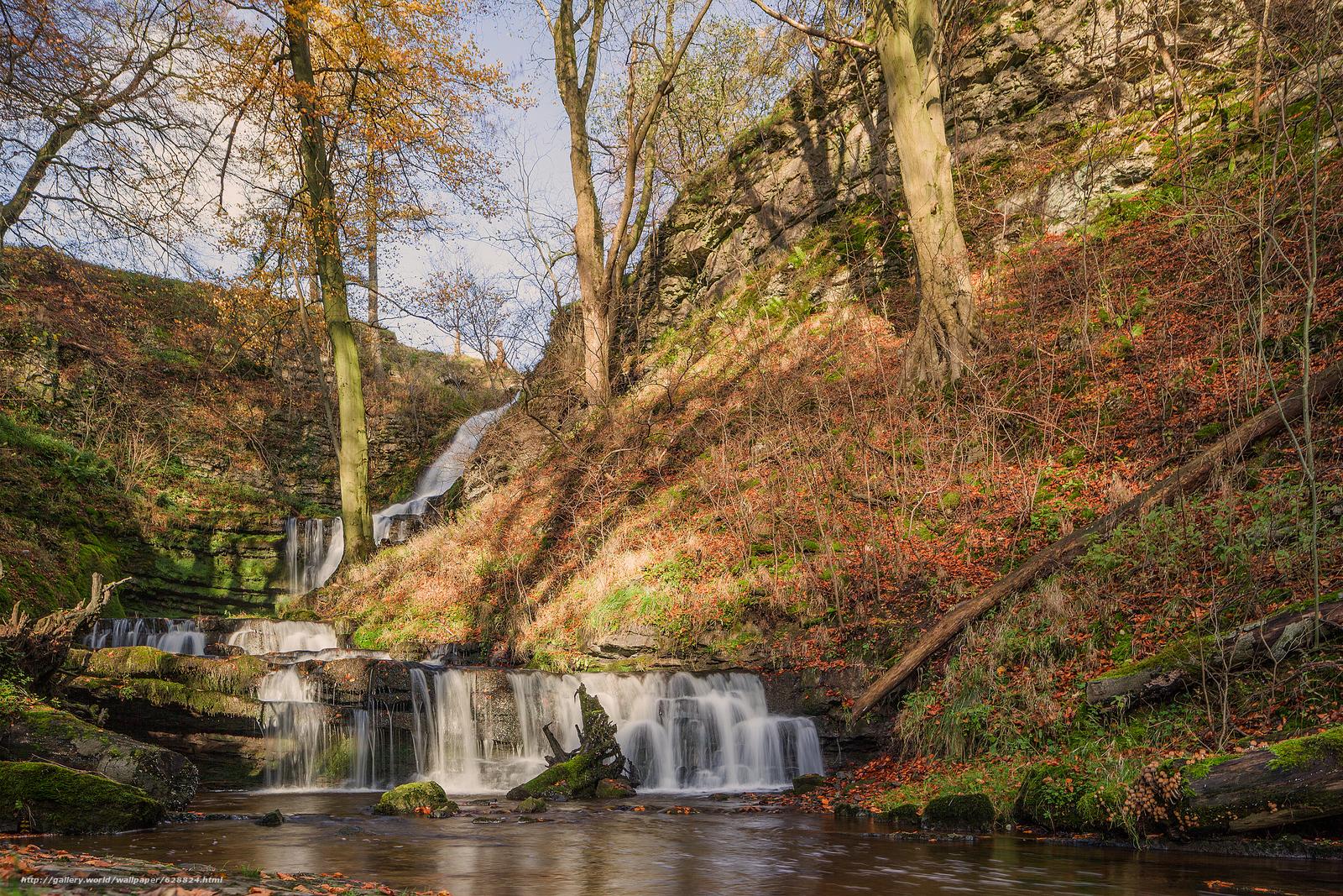 осень, холмы, водопад, речка, природа