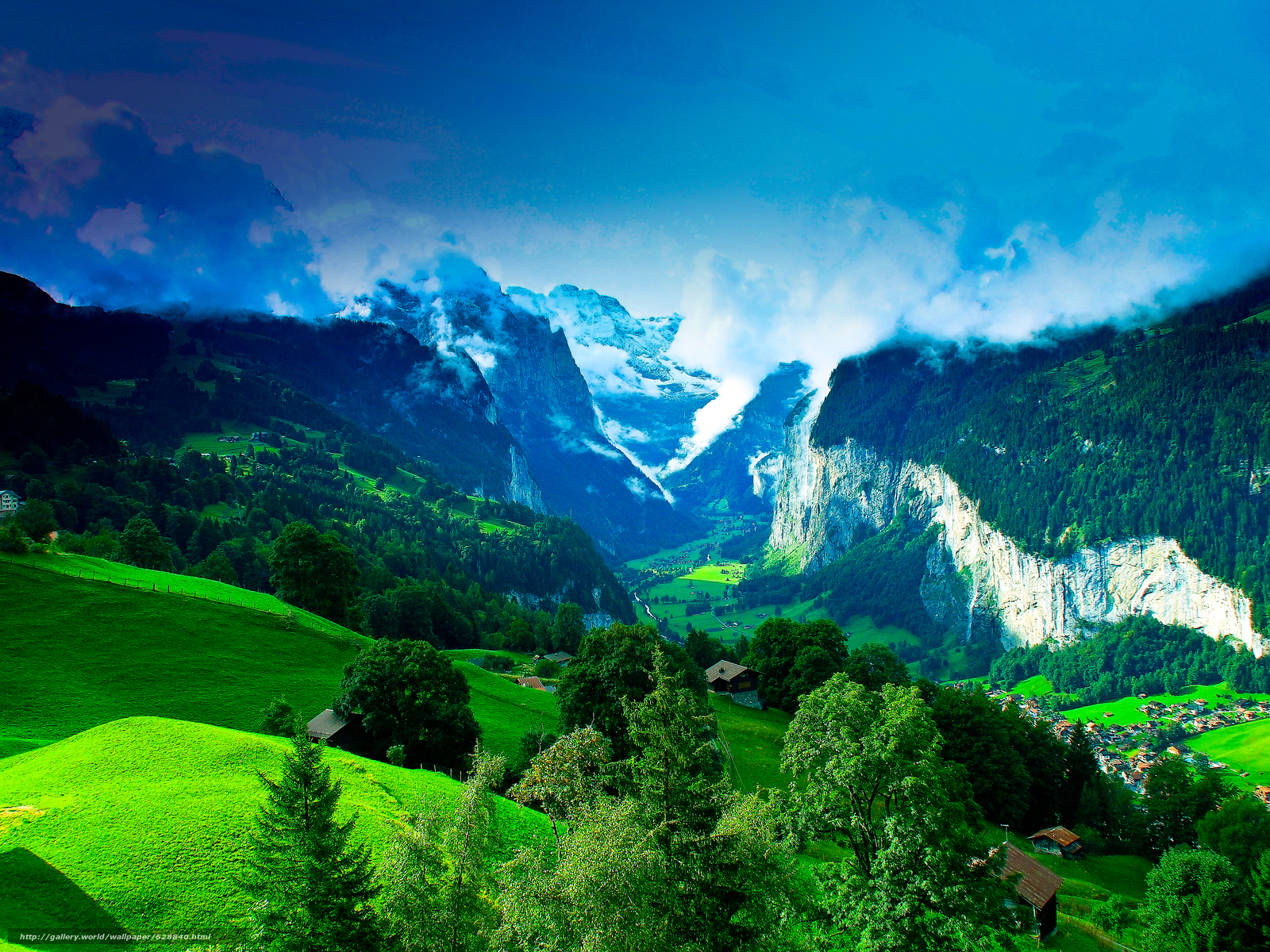 горы, холмы, деревья, дома, италия, пейзаж