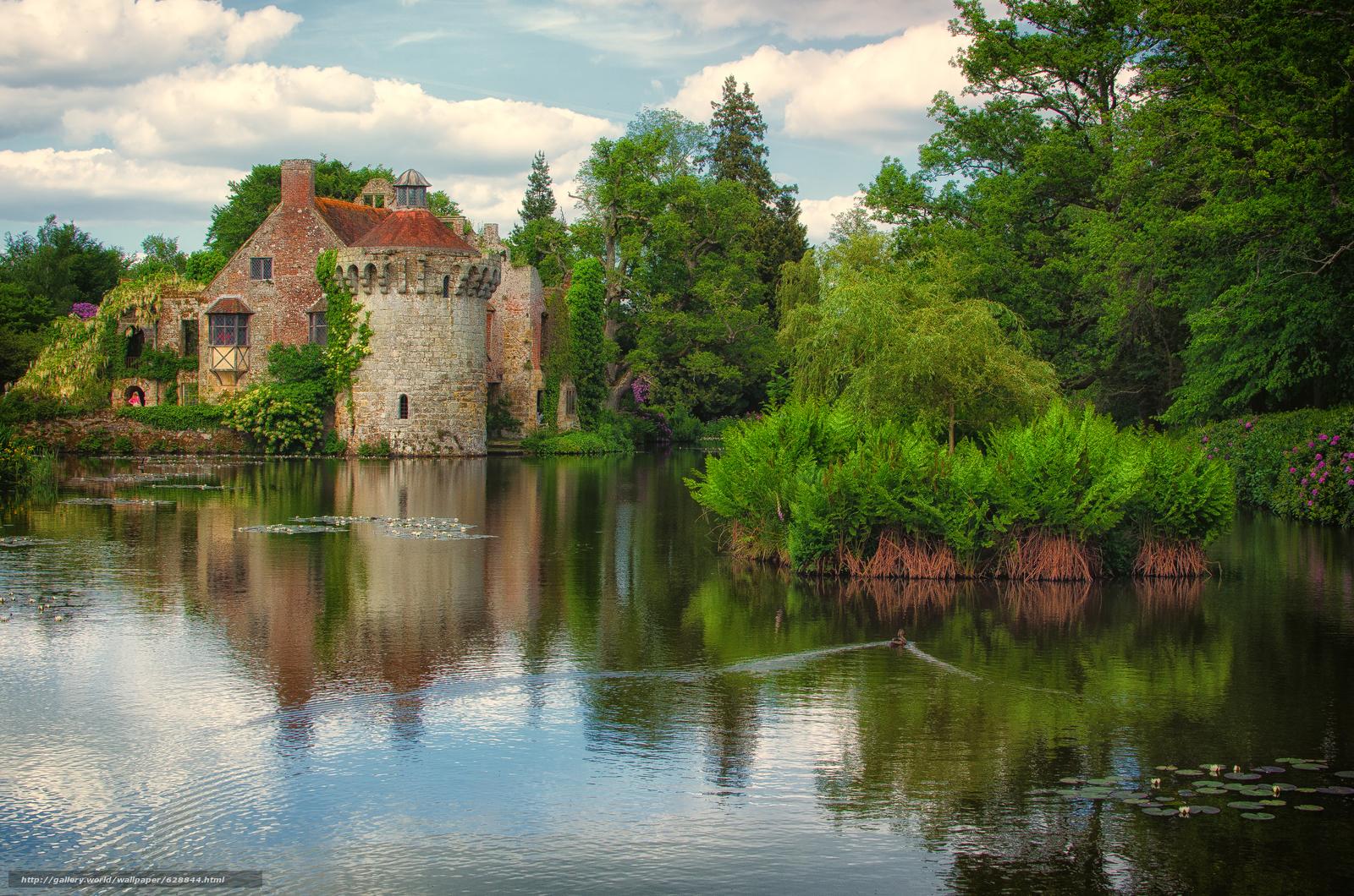 Scotney Old Castle, Lamberhurst, Kent, озеро, деревья, замок, пейзаж
