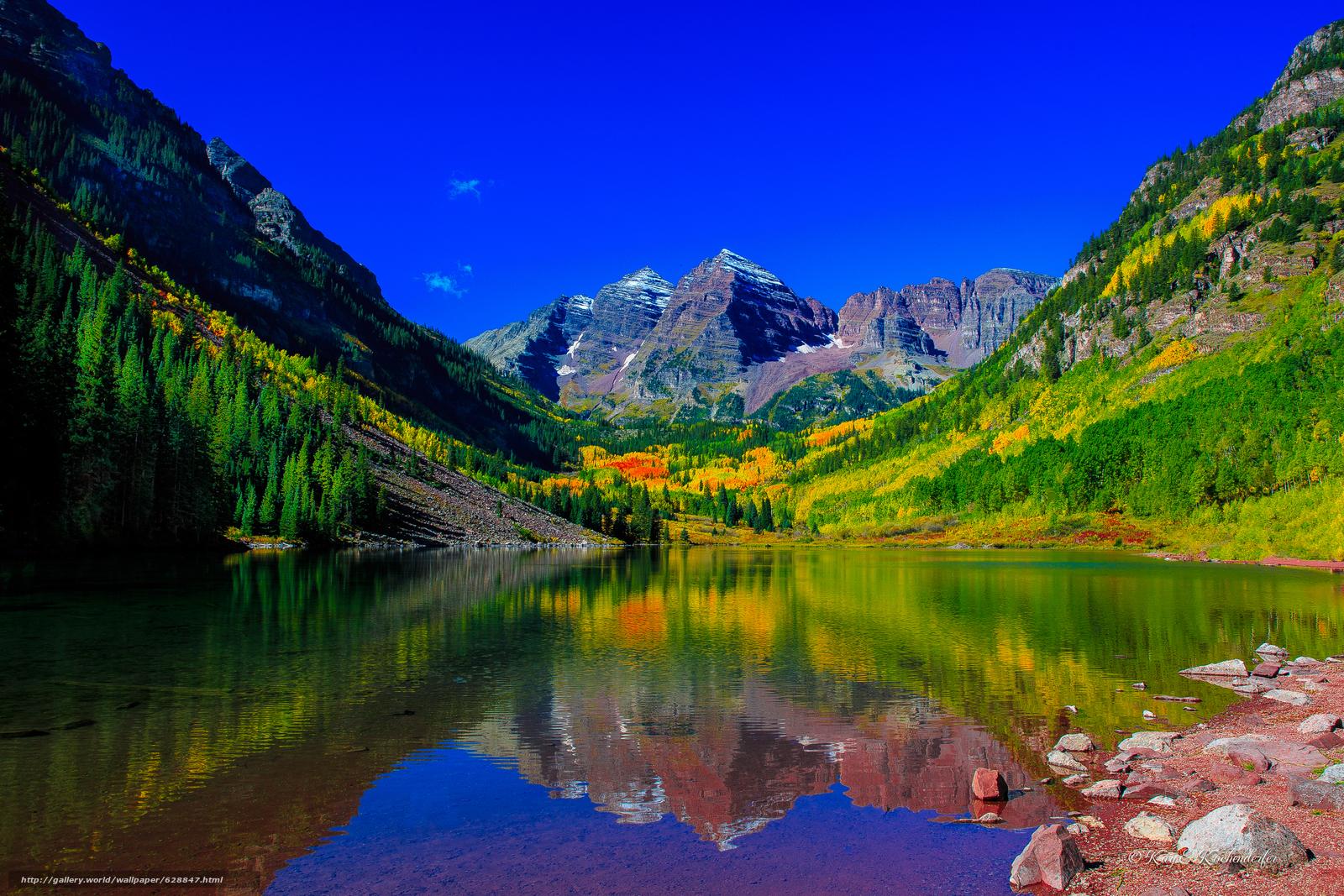 Maroon Bells, Colorado.озеро, горы, деревья, осень, пейзаж