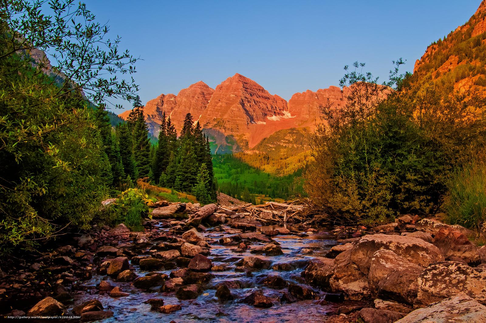 река, горы, деревья, камни, пейзаж, штат Колорадо