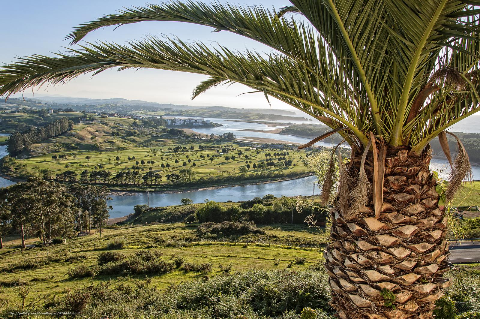 Устье реки Пас, Кантабрия, вид с верху, пейзаж