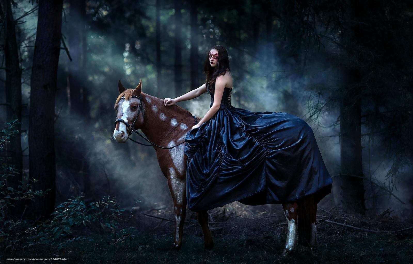 девушка, платье, маска, конь, лошадь, лес