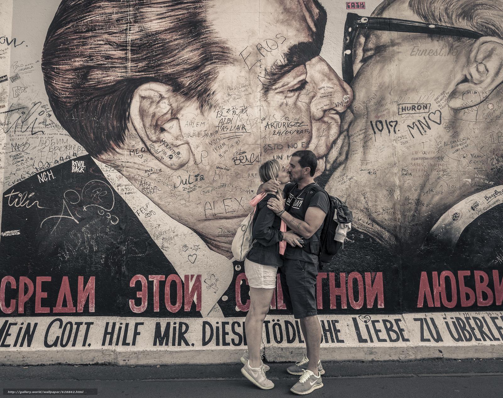 мужчина, женщина, поцелуй, любовь, Леонид Брежнев, Эрих Хонеккер, стена, рисунок, автографы