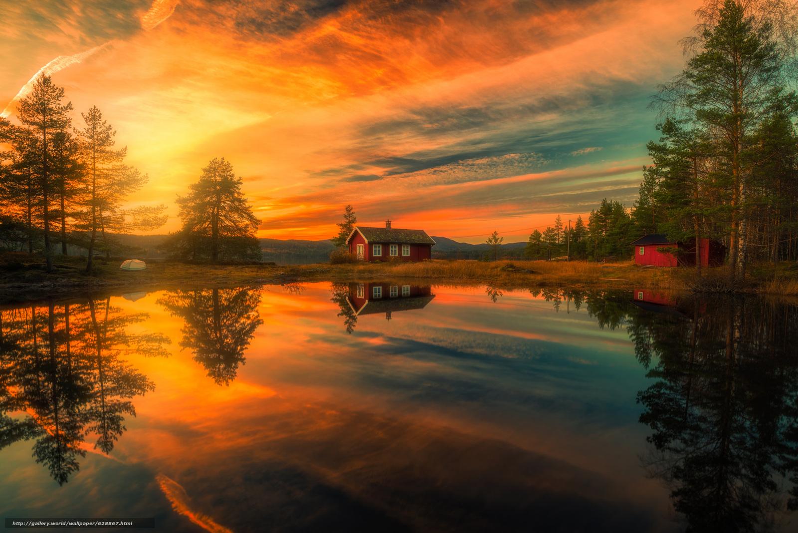 Ringerike, Norway, Рингерике, Норвегия, озеро, отражение, дома, закат, деревья