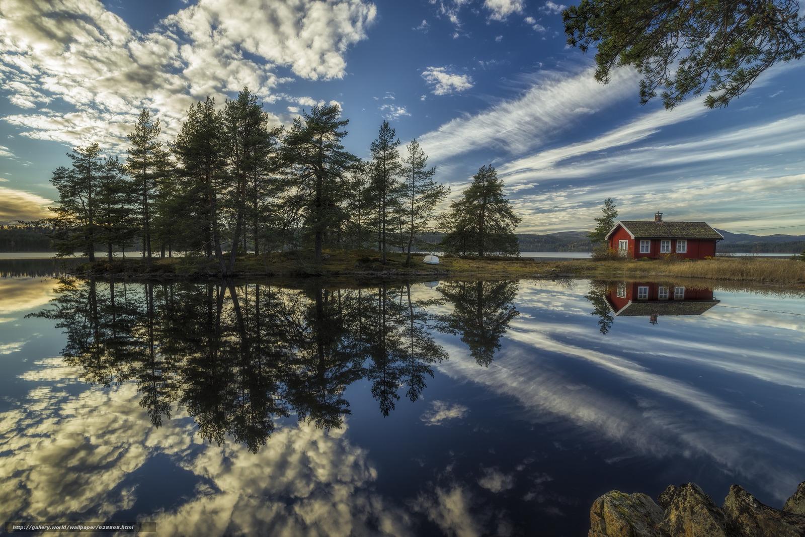 Ringerike, Norway, Рингерике, Норвегия, озеро, отражение, дом, облака, деревья