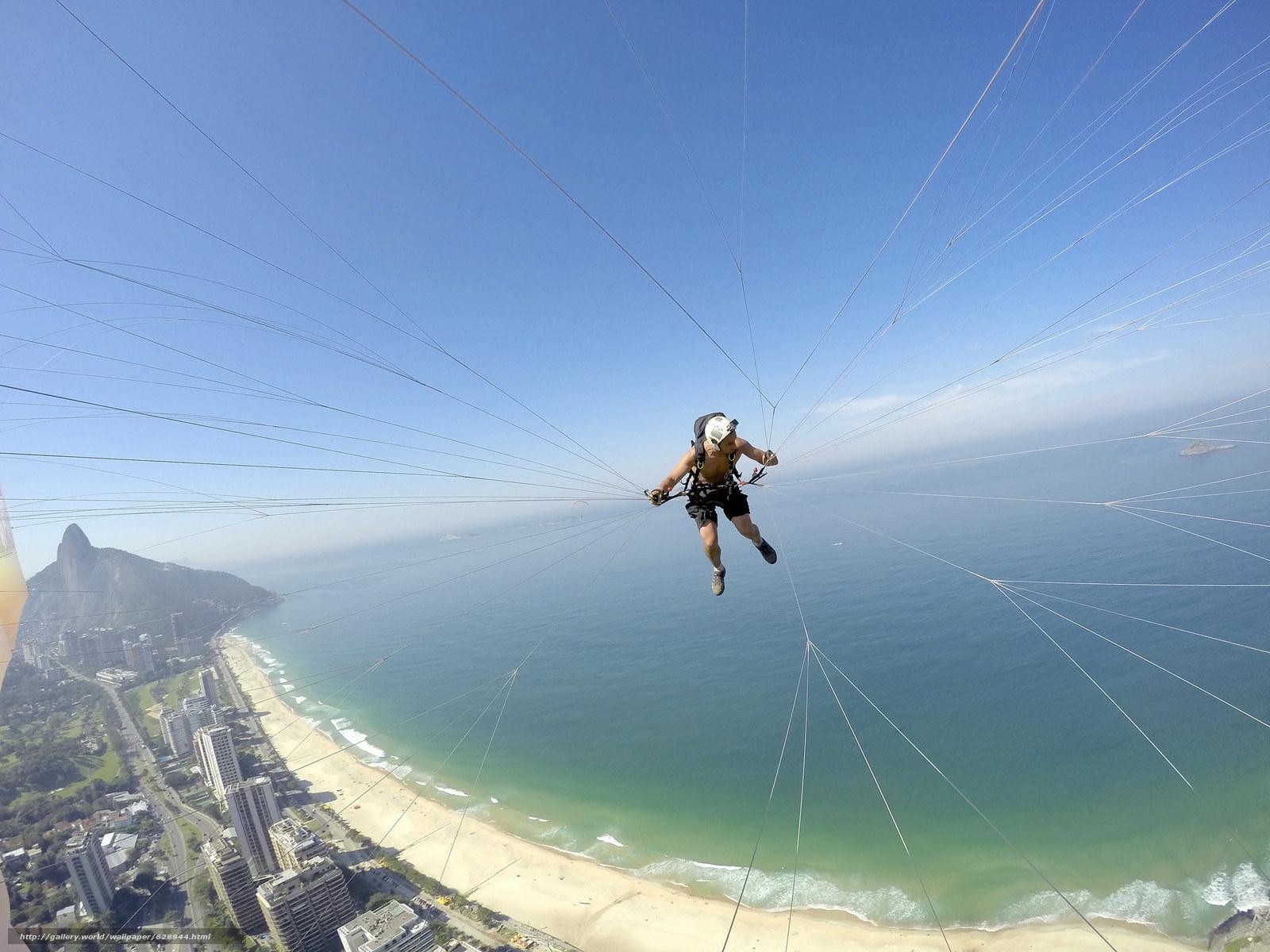 полеты на параплане, параплан, пилот, камера, шлем, нить, пляж, море, островок, горизонт, небо, Бразилия, Рио-де-Жанейро, экстремальный спорт