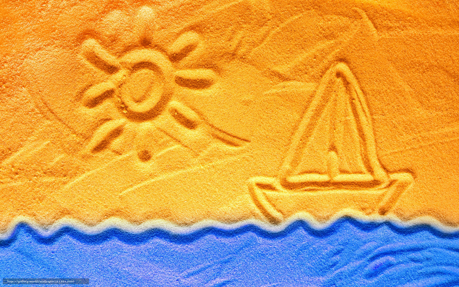 Рисунки на песке корабль