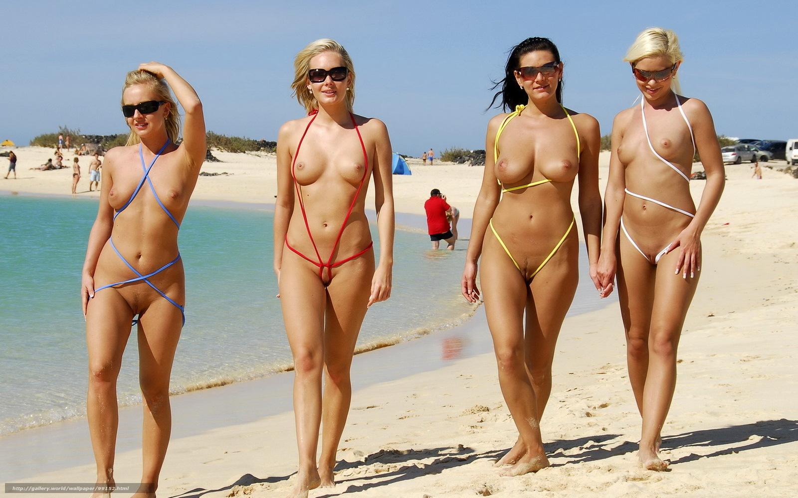 эротика, биккини, пляж, девушки