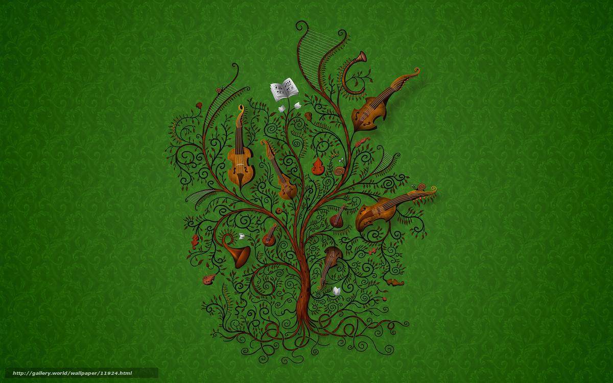 Download Wallpaper Green Tree Music Tools Free Desktop