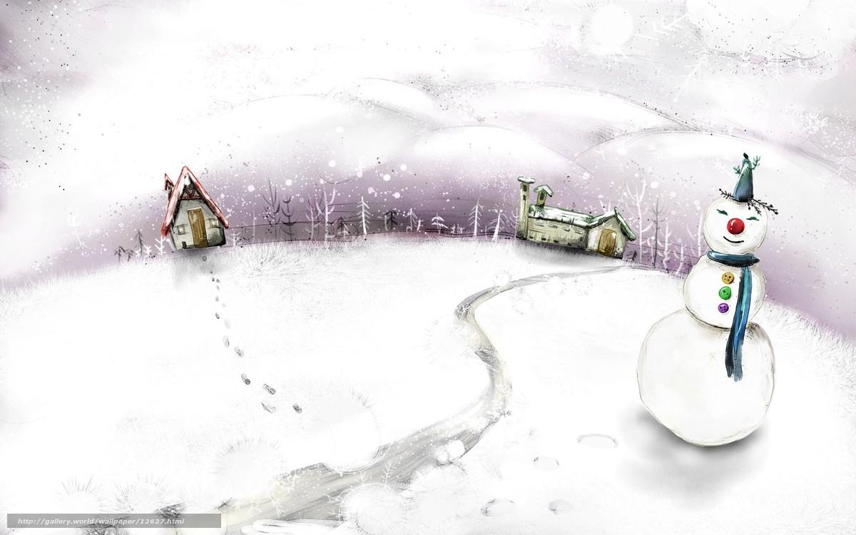 Tlcharger fond d 39 ecran hiver bonhomme de neige dessin for Fond ecran gratuit hiver