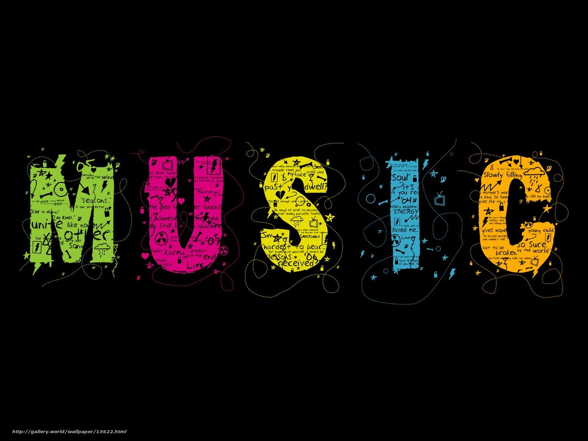 Download wallpaper Music,  letters,  color,  Typography free desktop wallpaper in the resolution 1600x1200 — picture №13622