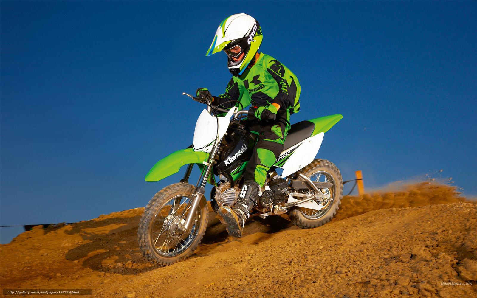 Download Wallpaper Kawasaki, Motocross, KLX110, KLX110