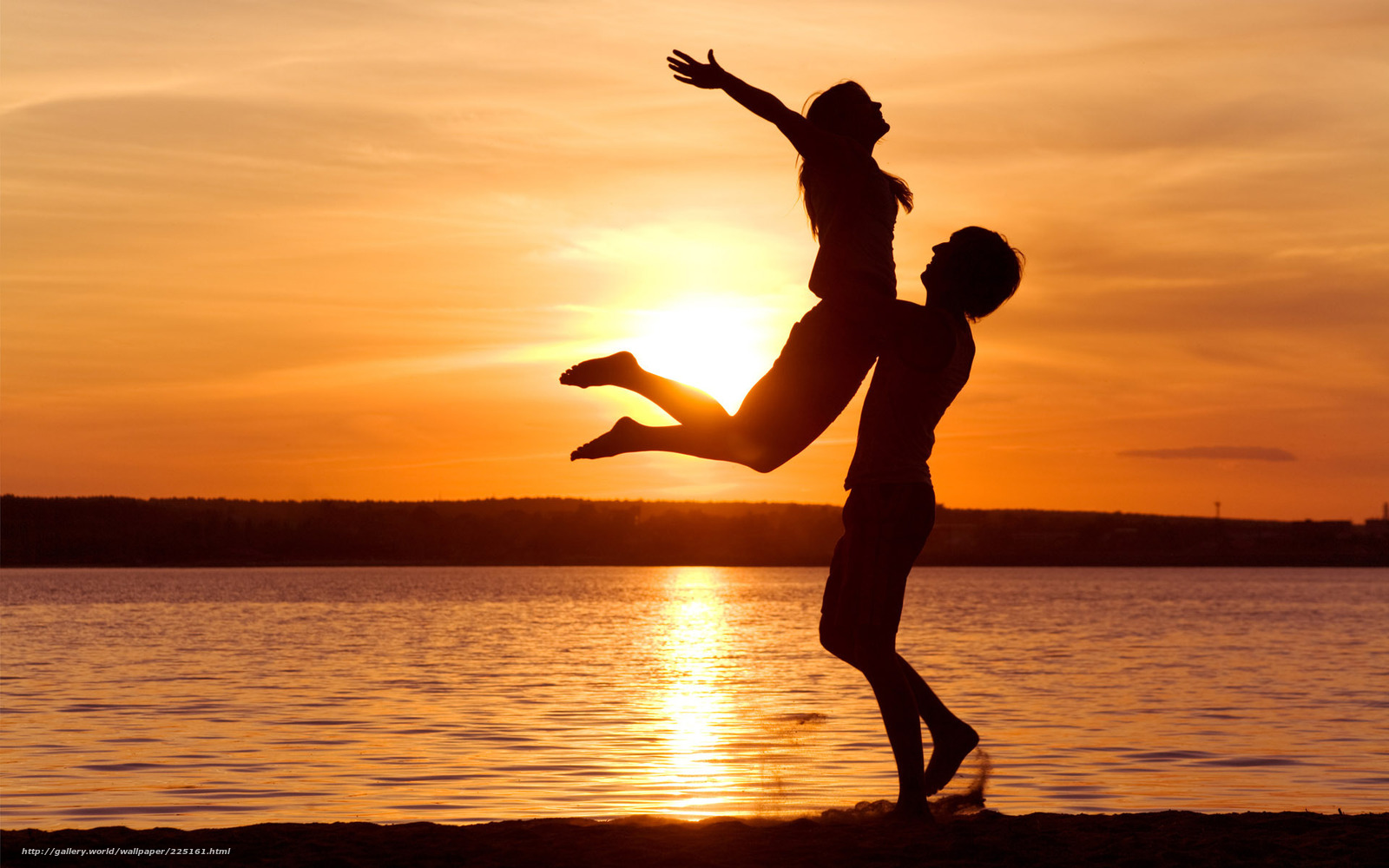 закат, любовь, свобода, чувтсво, берег, море, счастье, силуэты, наслаждение, солнце