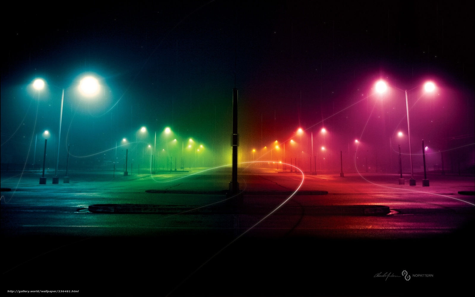 Download Wallpaper City Night Rainbow Light Free
