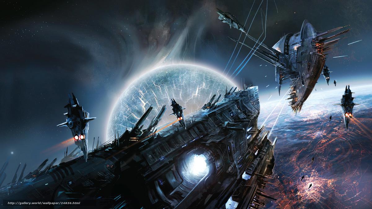 Скачать обои космос планета корабль