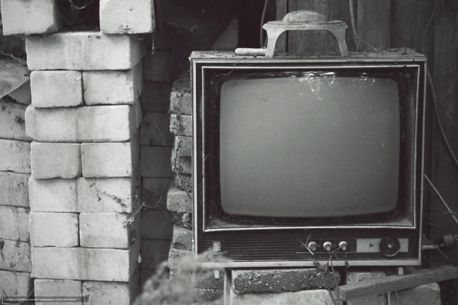 Download wallpaper Bricks, Old TV, retro free desktop wallpaper in the ...