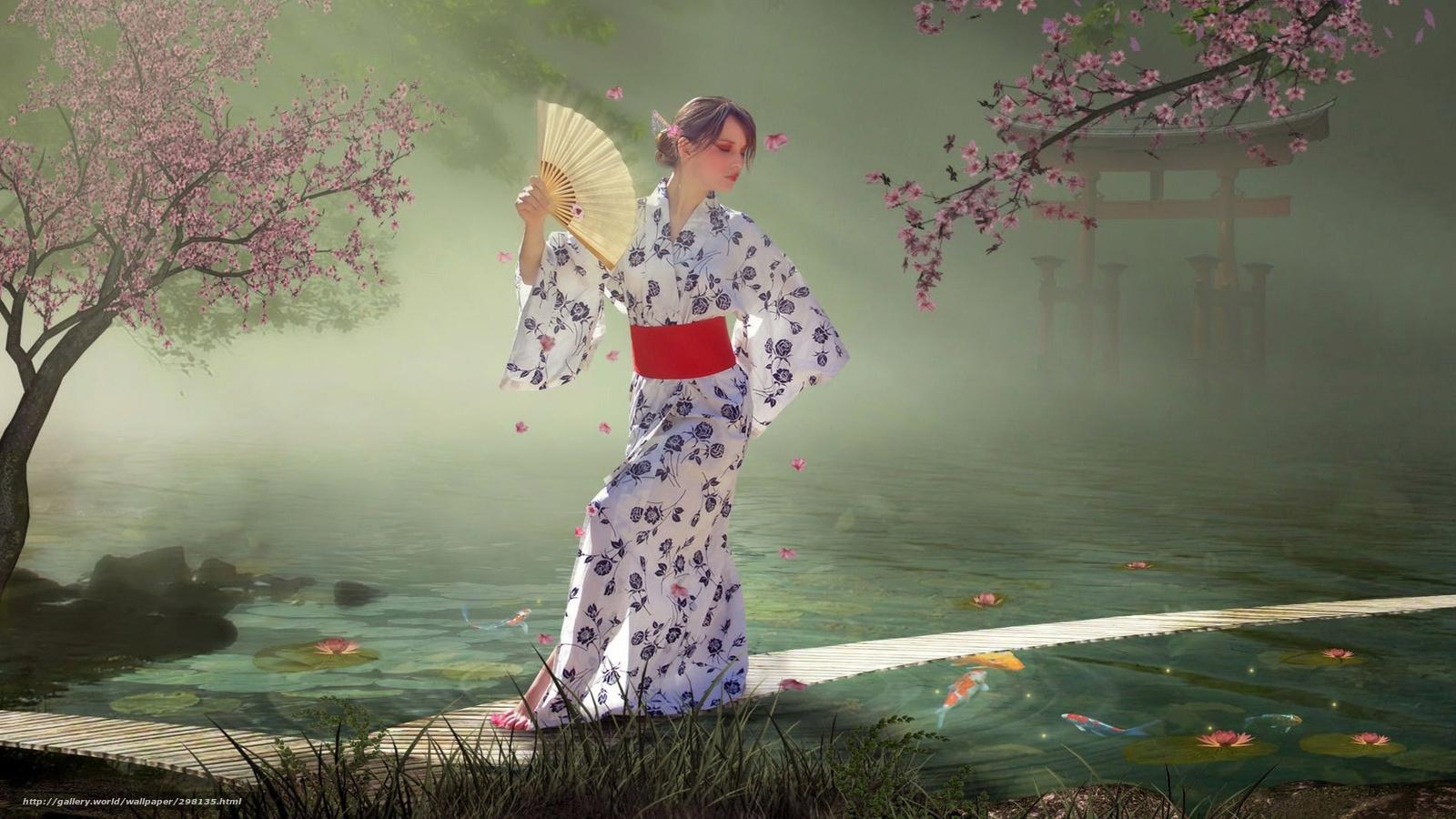 Tlcharger fond d 39 ecran japonais jardin fille dans un for Jardin japonais fond d ecran