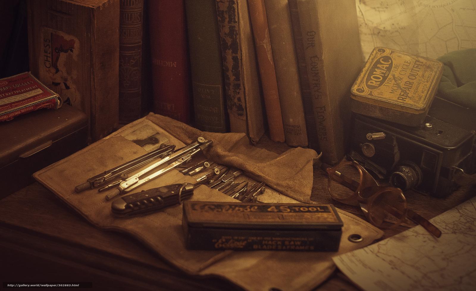 Обои цвета, старина, предметы, готовальня, ретро, Стол. цвета, старина, предметы...