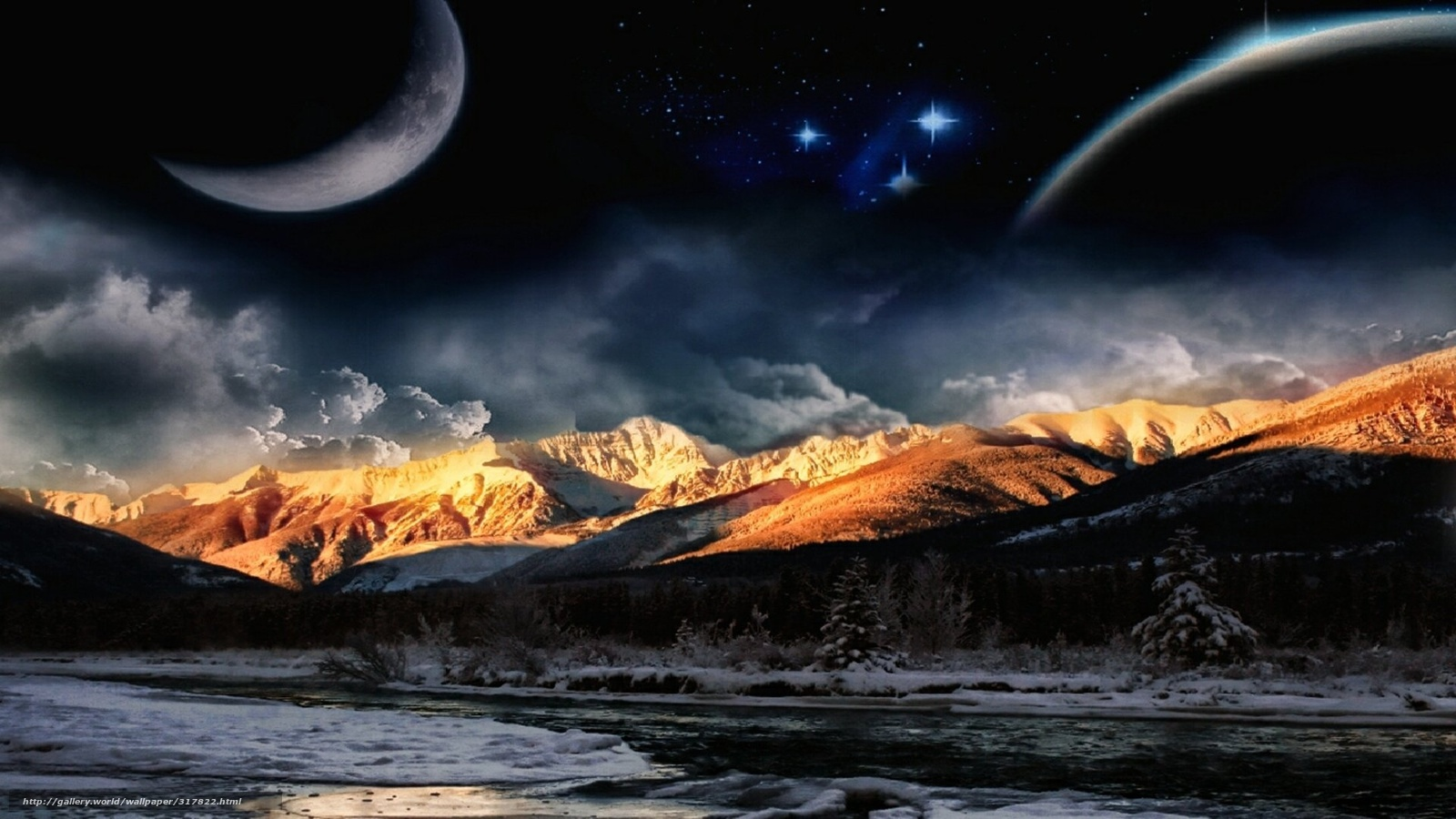 Download Wallpaper Space Planet Night Mountains Free