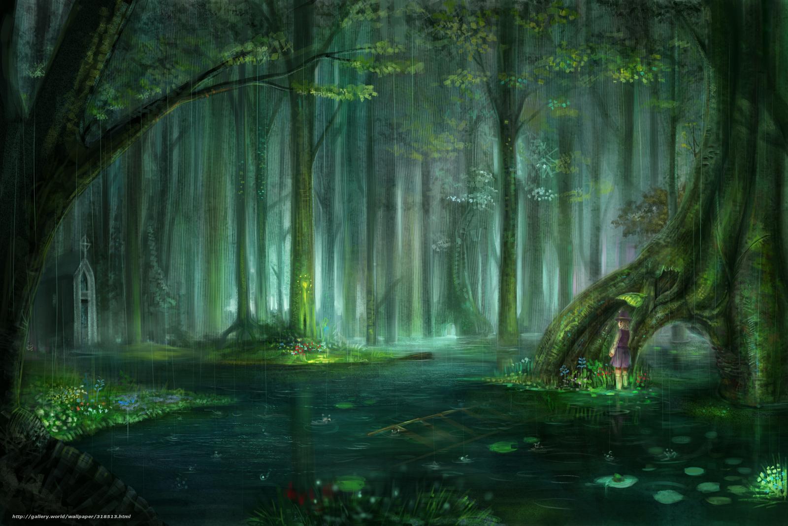 anime rain green wallpaper - photo #14