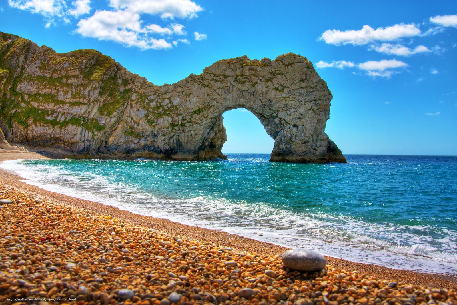 Скачать обои природа море скала арка