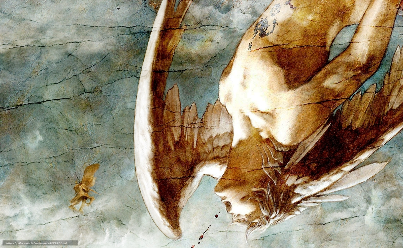 Download wallpaper angel man mural wings free desktop for Angel wall mural