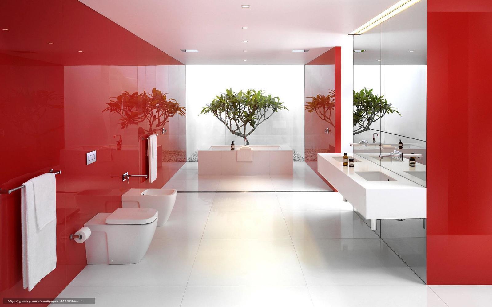 Papel de parede Branco Espelhos vermelho reflexo banheiro  #952020 1600 1000