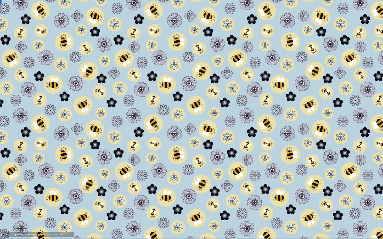 Descargar gratis Las abejas, flores, Papel pintado, textura Fondos de