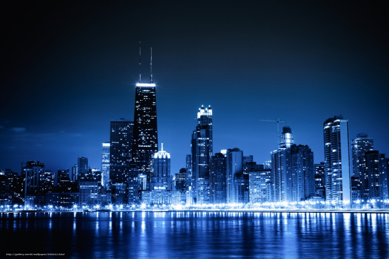 download wallpaper chicago blue night city lights free