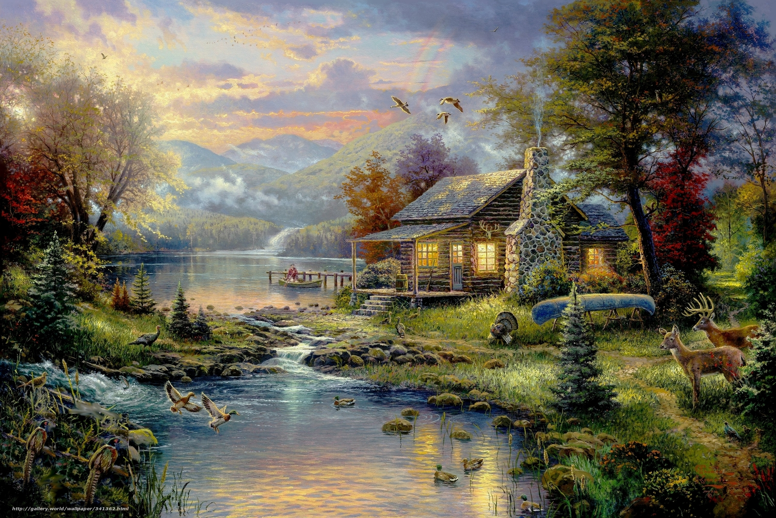 Download wallpaper picture, Thomas Kinkade, painting, paradise free ...