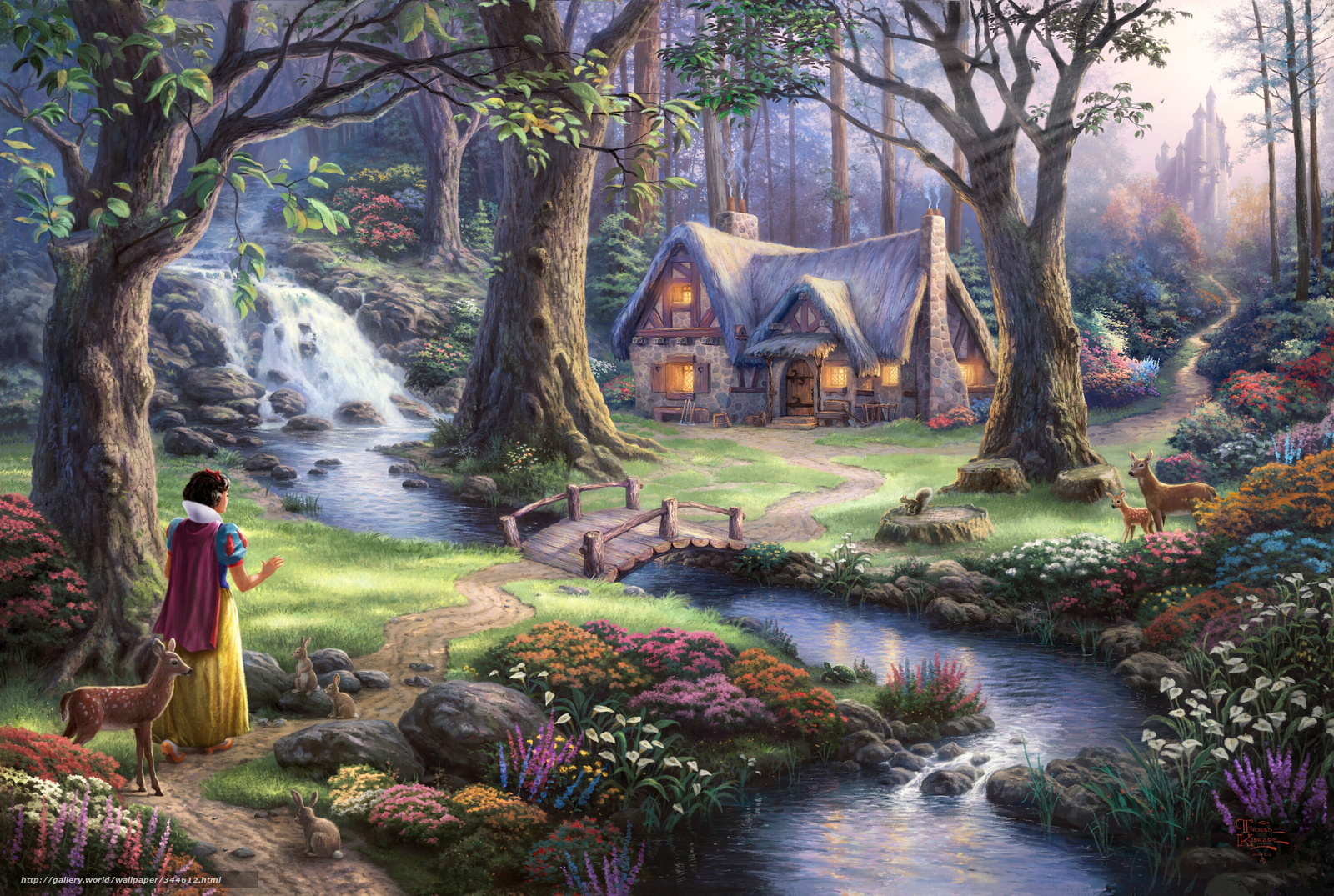 Download wallpaper Thomas Kinkade, princess, Disney, Art free desktop ...