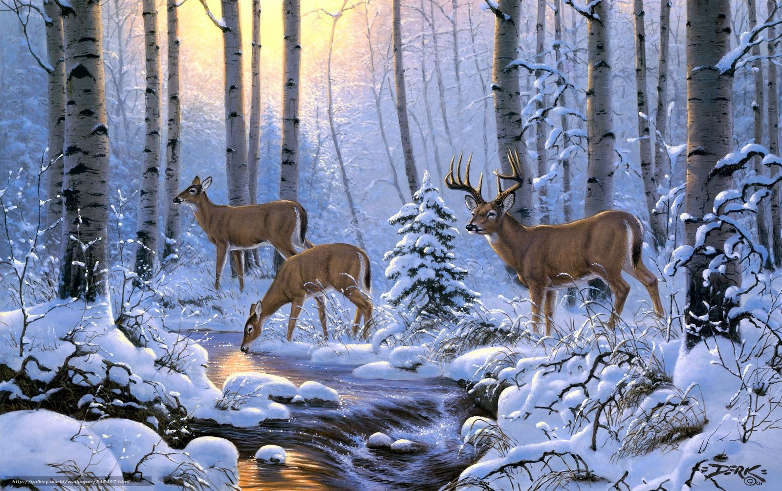 Winter Wallpaper With Deer File Name derk hansen oleni zima les sneg ruchej derevya art